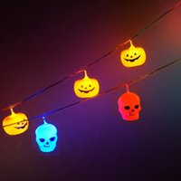 Colorful alloween Décoration String Lamp Nightlights funny Plastic Skull String Lights for Party Supplies Batterie Opérée