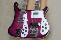 Wholesale Electric Guitar Double Neck Black - Rare RIC Purple Double Neck Guitar 4003 4 Stings Electric Bass & 360 12 Strings Electric Guitar Top Selling Triangle MOP Fingerboard Inlay