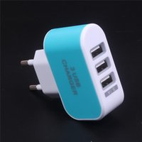 Wholesale Earphone Adaptors - US EU Plug 3 USB Wall Chargers 5V 3.1A LED Adapter Travel Convenient Power Adaptor with triple USB Ports For Mobile Phone