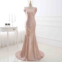 Custom Made New 2017 Cap Sleeves Champagne Mermaid Backless Sequin Evening Dress 2017 Real Prom Formal Evening Gown