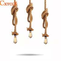 ampoules américaines achat en gros de-Rétro Vintage corde pendentif lampe Loft Creative personnalité industrielle lampe Edison ampoule American Style pour salon