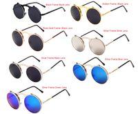 Wholesale Eyeglasses Vintage Retro - Unisex Fashion UV400 Steampunk Gothic Vintage Flip Up Round Eyeglasses Retro Metal Frame Mirrored Sunglasses Goggles