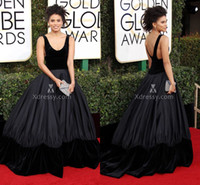Wholesale Cheap Golden Satin - Black Velvet Scoop Neck Ball Gown Celebrity Prom Dresses Zazie Beetz Red Carpet Golden Globes Gowns 2017 Cheap Backless Formal Wear Backless