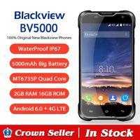 Wholesale Shockproof Android Quad Core - Original Blackview BV5000 Android 5.1 Waterproof+Shockproof+Dustproof 4G SmartPhone 5.0'' MTK6735P Quad Core 2GB RAM 16GB ROM
