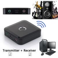 usb drahtloser videoadapter großhandel-Freeshipping 2 in 1 3.5mm drahtloser Bluetooth Empfänger Bluetooth Übermittler Audio-Musik-Adapter Bluetooth 4.0 Empfänger für Lautsprecher MP3