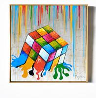 diseños de pintura para dormitorios. al por mayor-Innovador original diseñado colorido lindo dibujos animados dados imagen pintura arte de la lona para los niños dormitorio decoración de la pared