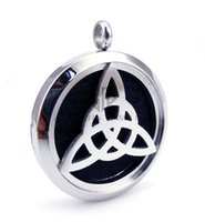 Wholesale Trinity Pendants - New Arrival Round Silver Trinity (30mm) Essential Oils Stainless Steel Perfume Diffuser Aromatherapy Locket Necklace with Chain