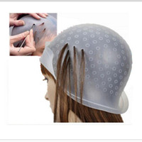 Wholesale Tools Dye Hair - Wholesale- Reusable Hair Colouring Hat Highlighting Dye Cap Frosting With hooks Tipping Color Hairdressing Styling Tools men women bathroom