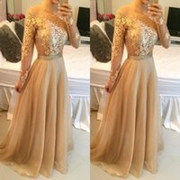 Wholesale Champagne Long Sleeve Lace - Long Sleeves Champagne Prom Dresses Lace Appliques off Shoulder Bateau Custom Made Formal Evening Celebrity Gowns Beaded Sash Party BO7979