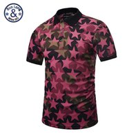 Wholesale Men Shirt Famous Brand - 2017 polo famous brand polo 3d print full of red stars mens short sleeve slim shirts casual skull printed new design fashion sweatshirts