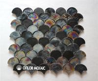 Wholesale Mosaic Tile Shapes - fan shaped black glass mosaic tile for interior house decoration bathroom and kitchen wall tile floor tile