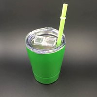 Wholesale Mugs For Kids - 10PCS! 9oz wine Cup with lids straws Insulated Tumbler Stainless Steel Wine Tumbler Glasses mug for kids students mugs with straw 10 colors