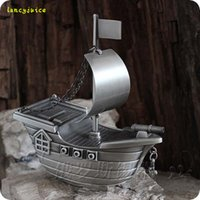 Wholesale Tin Piggy Banks - Steamboat tin piggy bank decoration tinwares metal Money Boxes