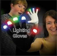 Wholesale Light Up Gloves Fingers - LED Flash Gloves light up Ghost Dance Black Stage Performance colorful LED Gloves Light Finger Lighting Gloves Glow Flashing B1102