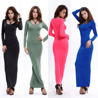 Wholesale Brown Maxi Dress Sleeves - Women Spring Autumn O Neck Long Sleeve Maxi Cotton Slim Bohemian Long Dress Casual Style Floor Length Dress YD1113