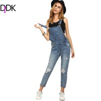 Wholesale Casual Washed Womens Overalls - Wholesale- DIDK Women Jumpsuits and Rompers Sleeveless Womens Summer Outfits Strap Blue Ripped Stone Wash Denim Overall Jumpsuit