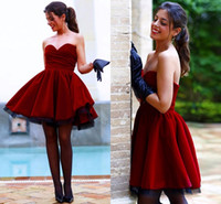Wholesale Tulle Strapless Ball Gown China - 2017 Burgundy Velvet Short Prom Dresses Ballkleider Mini Eveing Gown Tulle Ball Gown Puffy Cocktail Party Sweet 16 Dress Custom Made China