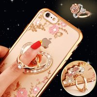 Wholesale Iphone Hold Case - Luxury B diamond ring hold case Crystal flexible electroplated TPU case for iPhone 7 7 plus clear case peacock   heart holder