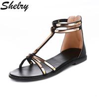 Wholesale Fashon Shoes - Wholesale-women sandals gold fashon ladies shoes japanned leather comfortable Roman sandals 2016 cool women shoes