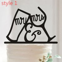 décoration de gâteau design pour mariage achat en gros de-Gâteau acrylique topper chauve-souris MR MRS design gâteau inséré carte décoration de fête Acrylic baby shower Gâteau de mariage anniversaire toppers