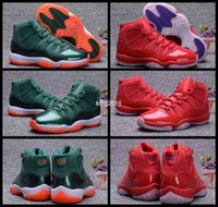 Wholesale Bulls Balls - 2017 Air Retro 11 XI Mens Basketball Shoes Bulls Green Red 72-10 Raging Bull Men Sports Sneakers Retros 11s Basket ball Shoe 8-13
