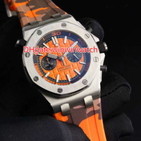 Wholesale Japanese Quartz Chronograph Movements - 5 pin oak men's watches top brands high quality Japanese quartz chronograph movement rubber band orange dial free shipping