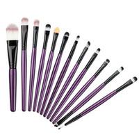Wholesale Red Angle Eyes - Wholesale- Purple Professional Eye Makeup Brushes Set Cosmetics Eyeliner Eyeshadow Eyebow Flat Angled Brush Make Up Beauty Tools kits