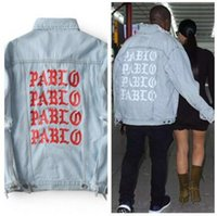 Wholesale Life Jackets Pockets - 2017 New Pablo Kanye West Denim Jackets Men The Life Of Pablo kanye Denim Jeans Oversized Denim Jacket Coats S-XL