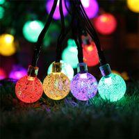 Wholesale Decorative Lighting Yards - Chrismas Decorative Light 6M 30 LED Waterproof Crystal Ball Solar String Light Solar Powered Globe Fairy String Light For Yard Garden