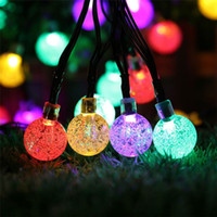 Chrismas Luz Decorativa 6M 30 LED Waterproof Crystal Ball Solar Corda Luz Solar Powered Globe Fada Luz String Para Jardim Yard