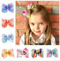 Wholesale Rainbow Flower Bow - Baby Gradient Rainbow Bow Har Clips Girls Large Bubble Flower Barrette Ribbon Bowknot Hairpin Clips Boutique Bows Hair Accessories KFJ175