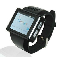 Wholesale new wrist mobile phone - Wholesale- New Black AN1 Android 4.1 Smart Watch Phone Dual Core 2.0 Inch Touch Screen Watch Mobile Phone 2.0 MP WiFi FM GPS