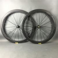 rodas da bicicleta da fibra do carbono que competem venda por atacado-50mm bicicleta de estrada 3 K / UD rodas de fibra de carbono cheio superfície fosca com sitcker brilhante de fibra de carbono rodado para a corrida de bicicleta, frete grátis