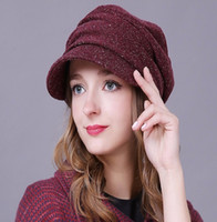 Wholesale Fold Beret - New Female Hats Keep Warm Winter Autumn Hats Fold Beret Hat Korean Style Fashion Ladies Commuter Christmas