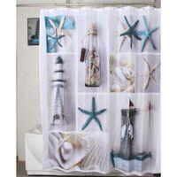 Wholesale showers curtains - Wholesale- New Fashion 1 Pcs Waterproof Mildewproof Starfish Pattern Bath Bathroom Decor Polyester Shower Curtain 72 Inch +12 Hooks