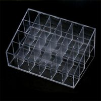 Wholesale Display Stand Holder Clear - High Quality Generic 24 Stand Trapezoid Clear Lipstick Lotion Makeup Cosmetic Holder Case Storage Display Stand Free shipping