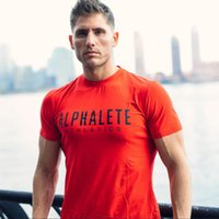 Wholesale Workout Shorts Men - ALPHALETE Strong Muscle Men T-shirts Fashion Gym Training Fitness Crossfit T shirt Workout Short sleeve Brand Tees Tops Clothing