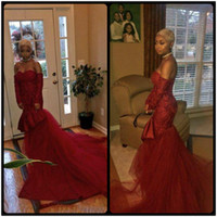 Wholesale Girls Size 12 Slim - Burgundy Lace Sweetheart Mermaid Prom Dresses Black Girls Slim African Style Evening Party Gowns 2017 Sexy Special Occasion Women's Dresses