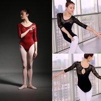 Wholesale Gymnastic Costumes - Ballet Leotard Adult High Quality Medium Sleeve Lace Ballet Dancing Costume Gymnastics Leotards Women's Dance Wear