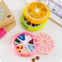 orange vitamin - New Portable fruit style grid seal rotation Storage Cases Jewelry candy box Storage Box Vitamin Medicine Pill Box Container