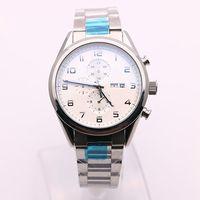Wholesale White Dial Watch Titanium - Luxury Brand Quartz Chronograph White TITANIUM Stop Watch Caliber Limiter Mens Watches floding clasp Dial Stainless Steel Sports Display