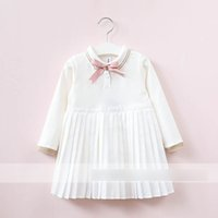 Wholesale American Girl Dolls Clothes - Kids preppy style dress Girls doll lapel bows lace-up dress Autumn Children long sleeve pleated dress Girls princess Clothing C1448