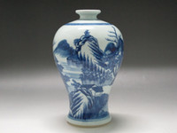 Wholesale Hand Painted Porcelain Vases - Chinese Blue and white Porcelain Vase Hand Painted scenery boat Double ring mark