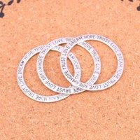 glaube armband silber großhandel-45 stücke Antikes Silber Überzogene liebe hoffnung glauben Charms Anhänger für Europäische Armband Schmuckherstellung DIY Handgemachte 35mm