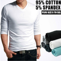 Wholesale Tight China - Hot Sale New spring high-elastic cotton t-shirts men's long sleeve v neck tight t shirt free CHINA POST shipping Asia S-XXXXXL