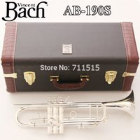 Wholesale New Trumpet Mouthpiece - New Silver Bach Trumpet AB-190S Bb Double Silver Plated Trompeta Profissional Instrumentos Leather Case with Mouthpiece