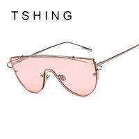 Wholesale Top Fashion Brands Korea - Wholesale-2016 New Oversized Women Flat Top Sunglasses Fashion Korea Brand Designer Steampunk Mirror Sun Glasses Big Integrated Goggles