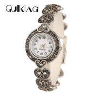 Wholesale Antique 14k Gold Watch Chain - New 2017 Fashion Design Bracelet Watch Antique Silver Plated Bangles AAA+CZ Bracelet For Women Lover Gift