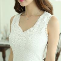 Wholesale Modal Tops Blouses - Autumn Summer Style Women Tops Lace Cotton Chiffon Blouse Shirt For Women White Black Sexy V-neck blusa Femme