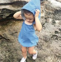 Wholesale Organic Child Hat - Baby bodysuit 2017 New Solid Babies Romper Cute With Cap Hat Toddler Jumpsuit Summer Sleeveless Infant Onesies Children Rompers Blue A5920